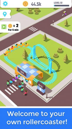 Скриншот для Idle Roller Coaster - 1